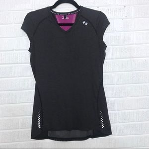 Under Armour V-neck Striped HeatGear Workout Top S